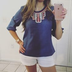 """NEW FAUX DENIM NAVY TOP NEW WITHOUT TAGS. 65% POLYESTER 35% COTTON. BEAUTIFUL FAUX DENIM TOP WITH A COLORED APLIQUÉ IN THE FRONT AND 3/4 SLEEVES WITH ELASTIC DETAIL. EASY TO COMBINE AND LOOKS AMAZING!  BUST S 17"""" M 18"""" L 19"""" LENGHT S 23"""" M 24"""" L 25"""". Tops"""