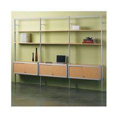 "Peter Pepper Envision 84"" Accent Shelves Bookcase Shelf Finish: Natural Maple Laminate, Credenza Finish: Cool Grey Melamine"