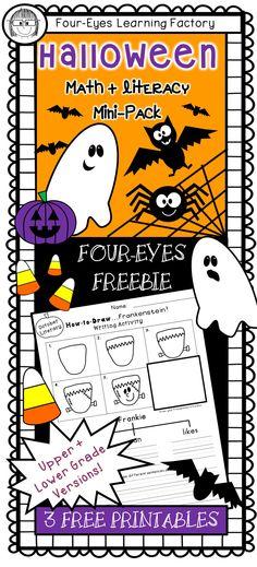 http://www.teacherspayteachers.com/Product/Halloween-Math-Literacy-Mini-Pack-Four-eyes-Freebie-Lower-Grades-1478381