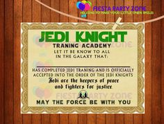 Jedi Certificate perfect for your Star Wars theme parte #starwarsparty #partyfavors https://www.etsy.com/listing/213861678/star-wars-star-wars-certificate-star