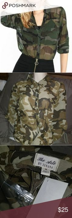 SHEER CAMO TOP NEW SHEER CAMO TOP SIZE MED COULD FIT A SMALL Tops Button Down Shirts