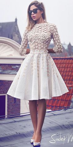 long sleeve short bridal gowns wedding dresses 4