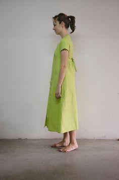 Vestido largo de lino 100 abotonado delante disponible por carapao, €91.00