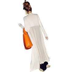 Lisli Women Kimono Cardigan Boho Chiffon Splice Long Maxi Dress Beach Cover Up White *** To view further for this item, visit the image link.