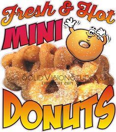 "12"" Fresh & Hot Mini Donuts Fun Concession Trailer Food Truck Vinyl Sign Decal  #SolidVisionStudio"