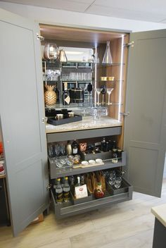 Custom cabinetry by Saffron Interiors. A retro inspired cocktail cabinet with recessed lighting, mirrored back and Blum Legrabox drawers Armoire Bar, Home Bar Cabinet, Bar Cabinets For Home, Drinks Cabinet, Pantry Cabinets, Kitchen Pantry, Small Bar Cabinet, Built In Bar Cabinet, Wine Cabinets