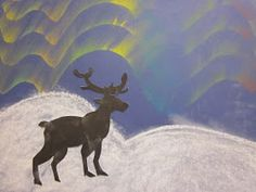 Kaarisillan kuvataide: Revontulet Projects For Kids, Art Projects, Discovery Zone, Evergreen Forest, Autumn Art, All Art, Reindeer, Moose Art, Arts And Crafts