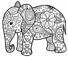 Adult Coloring Page Elephant New Pin by Rachel Demott Harper On Crazy for Coloring Sheets Adult Coloring Book Pages, Mandala Coloring Pages, Animal Coloring Pages, Printable Coloring Pages, Coloring For Kids, Coloring Pages For Kids, Coloring Sheets, Coloring Books, Elephant Coloring Page