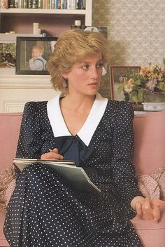 Princess Diana in her sitting room at Kensington Palace during a calendar…