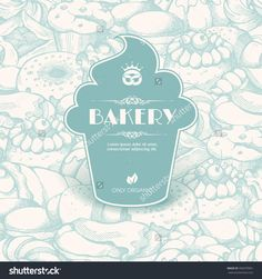 Vintage Template With Label Sticker Form Cupcake On Seamless Background With Sketch Bakery, Pastries, Sweets, Desserts, Cake, Muffin, Bun, Macaroons. Design For Menu, Banner, Card, Bakery Shop Stock Vector Illustration 336970001 : Shutterstock