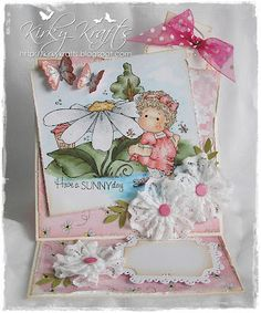 Waterlily Tilda and large daisy from Magnolia stamps