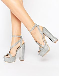 Lipsy Billie Silver Thread Platform Heeled Sandals Scarpe D argento bfd4aa783e9
