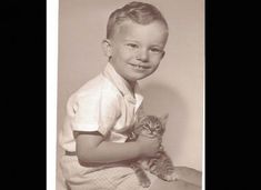 A young Jeffrey Dahmer with a kitten