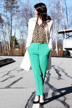 I decided to get festive in preparation for St. Patrick's Day and bust out my emerald green pants that I paired with leopard print! On Monday the 17th, don't forget to drink a green beer…
