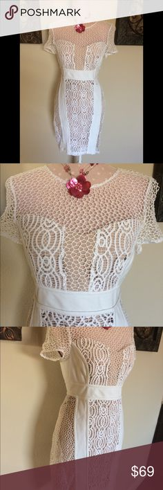 Anthropologie Maeve Dress White Lace NWOT Anthropologie Maeve Dress White Lace NWOT this Dress is s Size 8 and it unfortunately did not accommodate my 38D Anthropologie Dresses