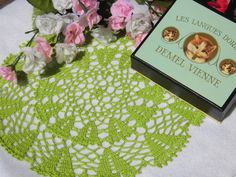 """I sell this on my Etsy shop """"YuminaCafe"""". Link in my profile.  Kawaii Doily,Crochet doilies,Wedding doily,Dollhouse Rug,Dresser mat,Table center,Table topper,Green,Round doily / 9""""(23cm) - #d34 by YuminaCafe on Etsy"""