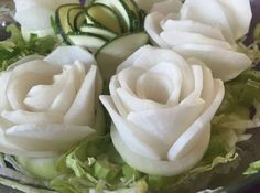 Super Easy Salad Roses   Use cucumber or zucchini and display them as salad roses.