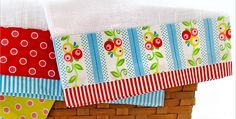 These Are so Easy to Make You Can Have a Set Done in a Flash! Simple kitchen towels become something special when strips of pretty fabric are added. These will be perfectly lovely in your kitchen. They also make wonderful gifts for wedding showers and housewarmings. These are very easy to stitch up. Consider making …