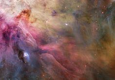 """Nebulosa de Órion. """"Constelação de Órion"""". Imagem do """"Telescópio Espacial Hubble""""."""
