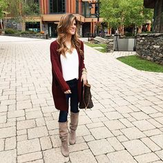 This burgundy cardigan y'all  love it so much! And it's SO SOFT (and stretchy!) ❤️ Like I told y'all the other day, I got it in black and grey too!  shop my look here: http://liketk.it/2pi7n @liketoknow.it #liketkit #ootd #LTKunder50 #ootd #cardigan #sweater #styleblogger