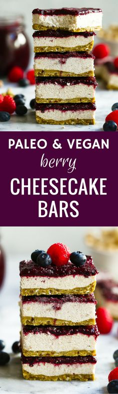 Paleo Vegan Berry Cheesecake Bars. These cheesecake bars are easy to make, taste delicious and are gluten free, grain free, dairy free and sugar free! Low carb cheesecake bars. No bake cheesecake bars. Best paleo vegan cheesecake bars recipe here. Easy ve