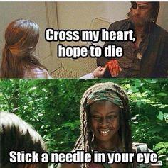 The walking dead michonne needle ;)