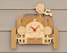 Aeroplano vivero reloj madera niños decoración de avión