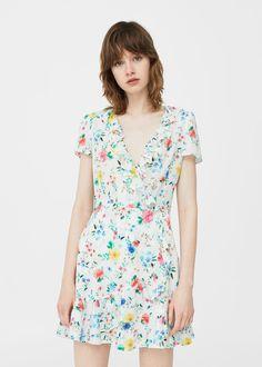 Zakładana sukienka w kwiaty | MANGO