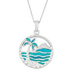 Sterling Silver Created Blue Opal Palm Tree  Ocean Circle Pendant with 18 Chain * You can get more details by clicking on the image.(This is an Amazon affiliate link and I receive a commission for the sales) #Necklaces