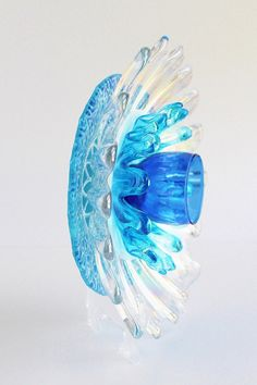 Recycled Sea Blue Coral Vintage Glass Flower by TheBlueRam on Etsy