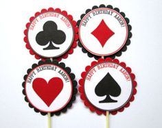 Items similar to Casino Cupcake Toppers, Personalized Vegas Cupcake Toppers, Casino Party Cupcake Toppers, Poker Cupcake Toppers, Set of 12 on Etsy Casino Party, Casino Movie, Casino Table, Casino Theme Parties, Party Themes, Vegas Party, Party Ideas, Cupcake Toppers, Poker Cupcakes
