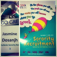 """Fresno State recruitment book.  """"Oh the places you will go, the people you will meet, the woman you will become when you go Greek.""""  love this!"""