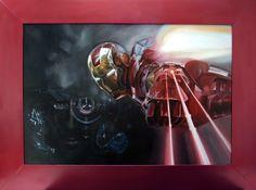 """IRON MAN"" in a red glossy varnish frame oil on canvas 90x60 2015 United Kingdom aut. Katarzyna Waszewska"