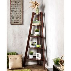 Furniture of America Kiki 5-tier Corner Ladder Display Bookcase (Cherry), Red