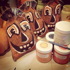 Rustic burlap bag pumpkins by The Pink Pinecone Studio