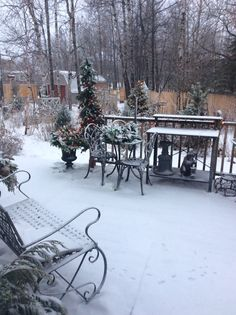 Patio in the snow
