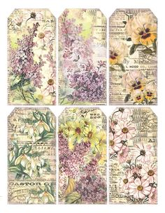 New Shabby Chic Printables Free Decoupage Gift Tags Ideas Vintage Tags, Vintage Labels, Vintage Paper, Vintage Floral, Vintage Ephemera, Vintage Flowers, Printable Labels, Printable Paper, Free Printables