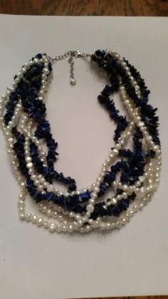 Blue Stone Pearl Waterfall Necklace Sterling Silver 925 Lapis by Stellavintagejewelry on Etsy