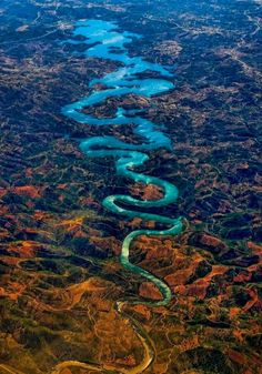 """The Blue Dragon River, Portugal  Odeleite is a river in the municipality of Castro Marim. The river is also known as """"The Blue Dragon River"""" because of its dark blue color and curvy shape."""