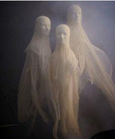 Styrofoam head and cheese cloth. Spooky!