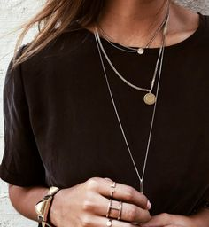 What would this black t-shirt be without the gold jewelry? Let the gold jewelry do the the work for your look. That's all you might need!
