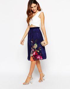 Image 1 ofLittle Mistress Midi Skirt With Floral Border Print
