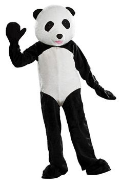 Panda Bear Mascot Costume - Become a cute and cuddly bear in this Panda mascot costume!   This deluxe Panda costume comes with a plush faux fur jumpsuit. It has a white belly and black legs and arms. It has two gloves and shoe covers. The headpiece is a full fur covered vinyl head. You can see out of the eyes. It has a more realistic head.   This Panda mascot costume is perfect for Halloween, parties, parades or wherever you need a cute animal. #mascot #yyc #calgary #costume #mens