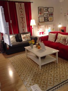 Brown and Red Living Room Idea. 20 Brown and Red Living Room Idea. Take A Look at This Brown Living Room with Alcove Shelves Red Couch Living Room, Ikea Living Room, Small Living Rooms, Living Room Designs, Red Living Room Decor, Red Sofa, Home Decor Styles, Sofa Design, Home Decor Bedroom