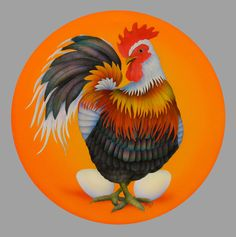 Chinese Zodiac Painting - Year Of The Rooster by Marcia Perry Rooster Painting, Art Carte, Chinese Zodiac Signs, Clip Art, Painted Boards, Zodiac Symbols, Animals Of The World, Hens, Pretty Pictures