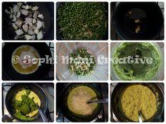 ricetta passo passo per preparare un piatto di pasta con crema di piselli, formaggio e panna