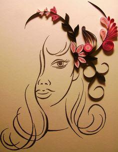 quilled flower arrangement in girl's hair