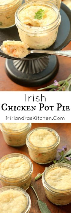 I make this Irish Chicken Pot Pie from scratch and it really is comfort food at its finest!  The pies have a creamy, meaty filling and are topped with a puff pastry crust. Bake them in mason jars for simple individual servings that transport well! Mason Jar Meals, Mason Jar Food, Mason Jar Recipes, Mason Jar Pies, Mason Jar Lunch, Food In Jars, Meals In A Jar, Irish Recipes, Scottish Recipes