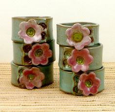napkin rings handmade ceramic click now for info. Hand Built Pottery, Slab Pottery, Ceramic Pottery, Thrown Pottery, Pottery Gifts, Handmade Pottery, Handmade Ceramic, Ceramics Projects, Clay Projects