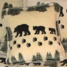 Woodsy  Bear Decorative Pillow #home #decor Cabin or lodge